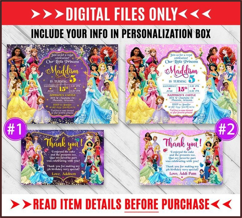 Disney Princess Birthday Invitations Etsy