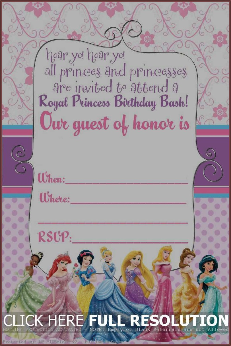 Disney Princess Birthday Invitations Free Printable