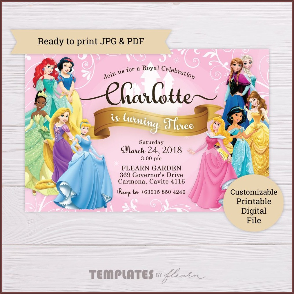 Disney Princess Birthday Invitations