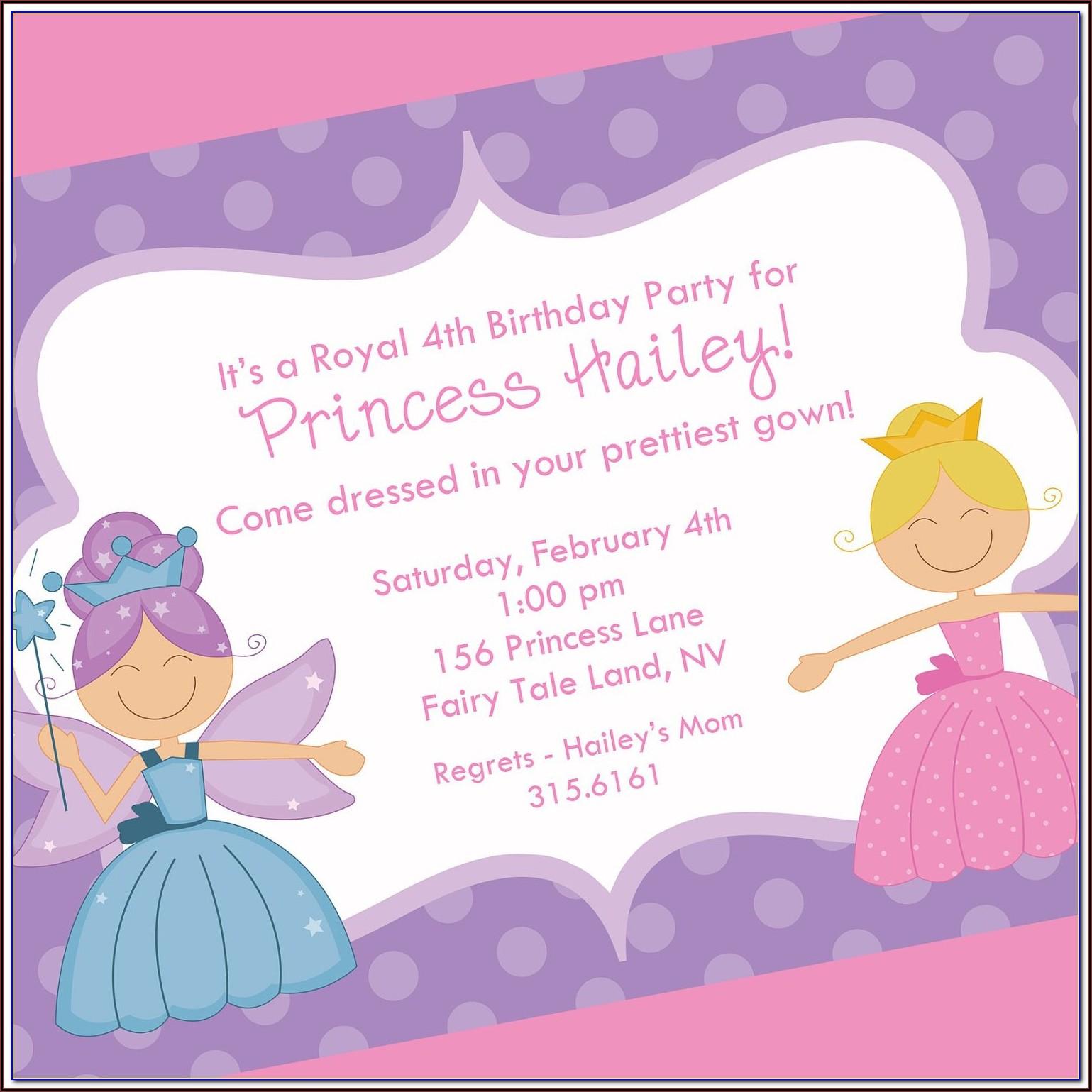 Disney Princess Invitation Card Template