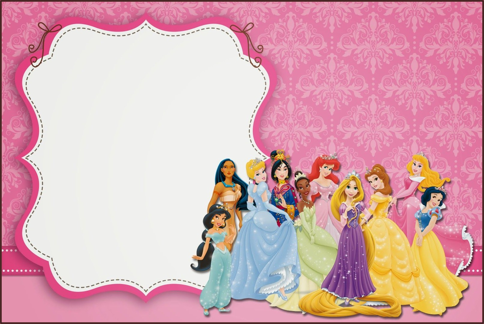 Disney Princess Party Invitations Free Printable