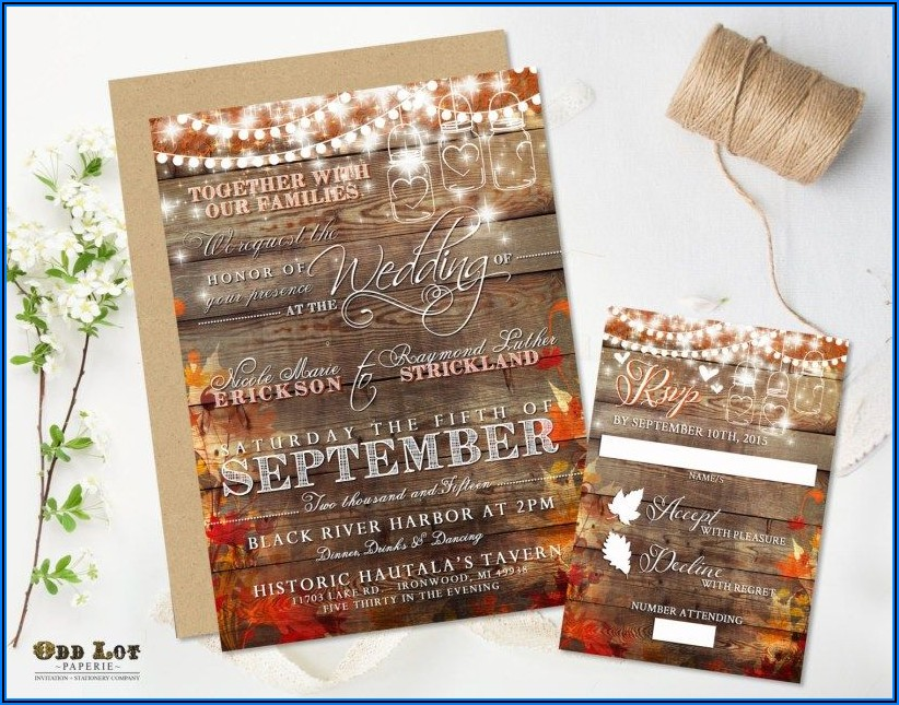 Diy Rustic Fall Wedding Invitations