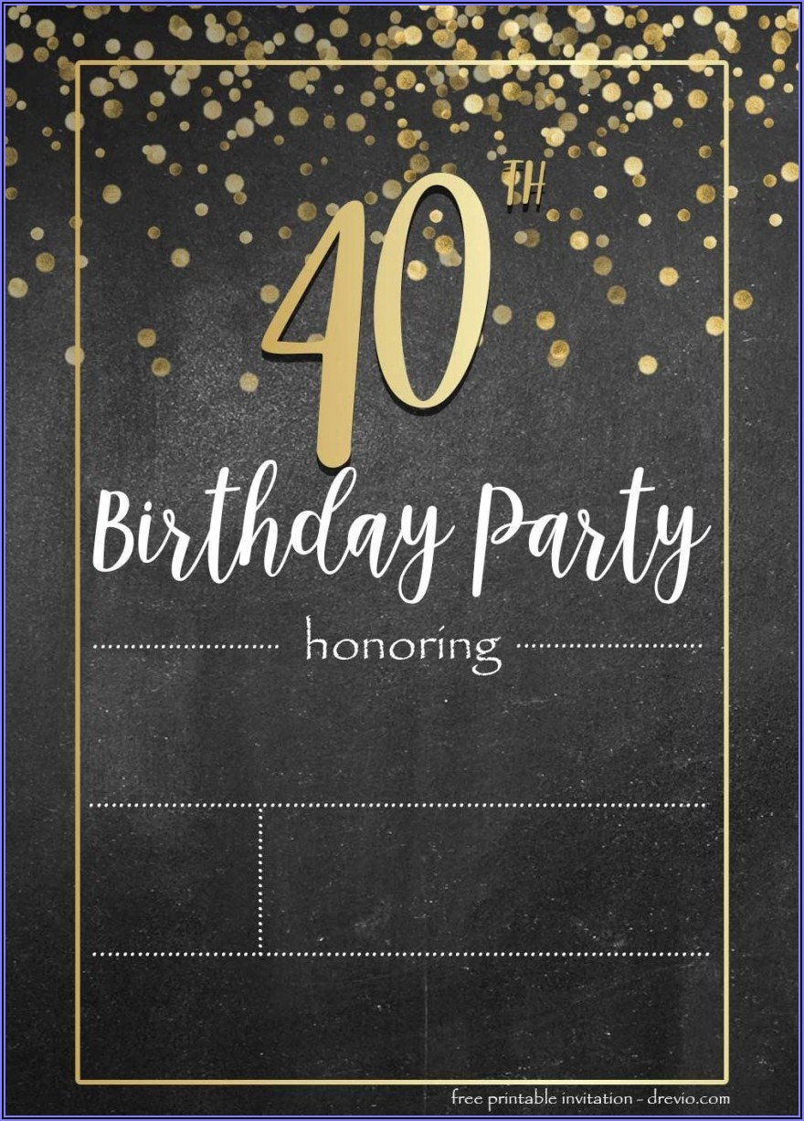 Downloadable Editable Free 40th Birthday Invitations Templates