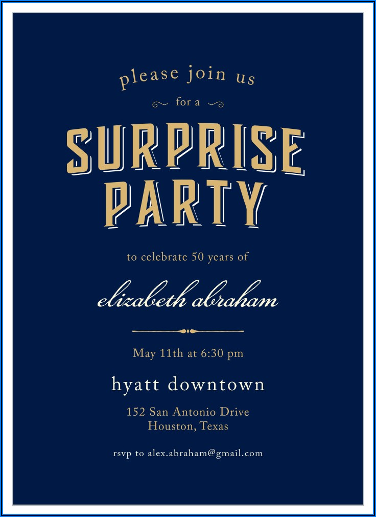 Downloadable Surprise Birthday Invitations