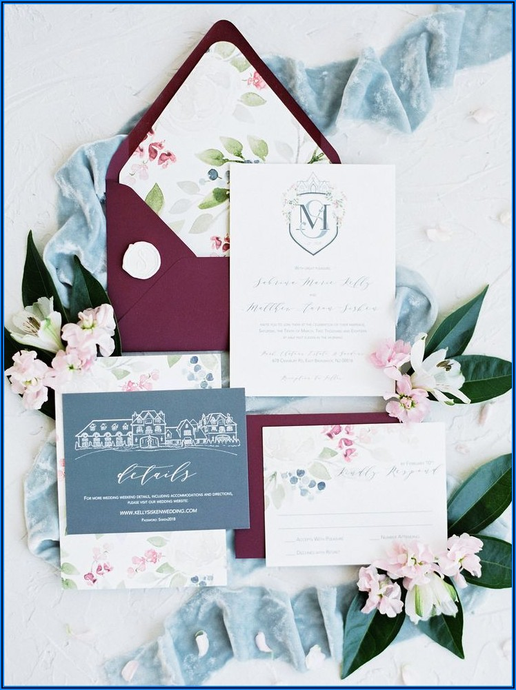 Dusty Blue And Maroon Wedding Invitations