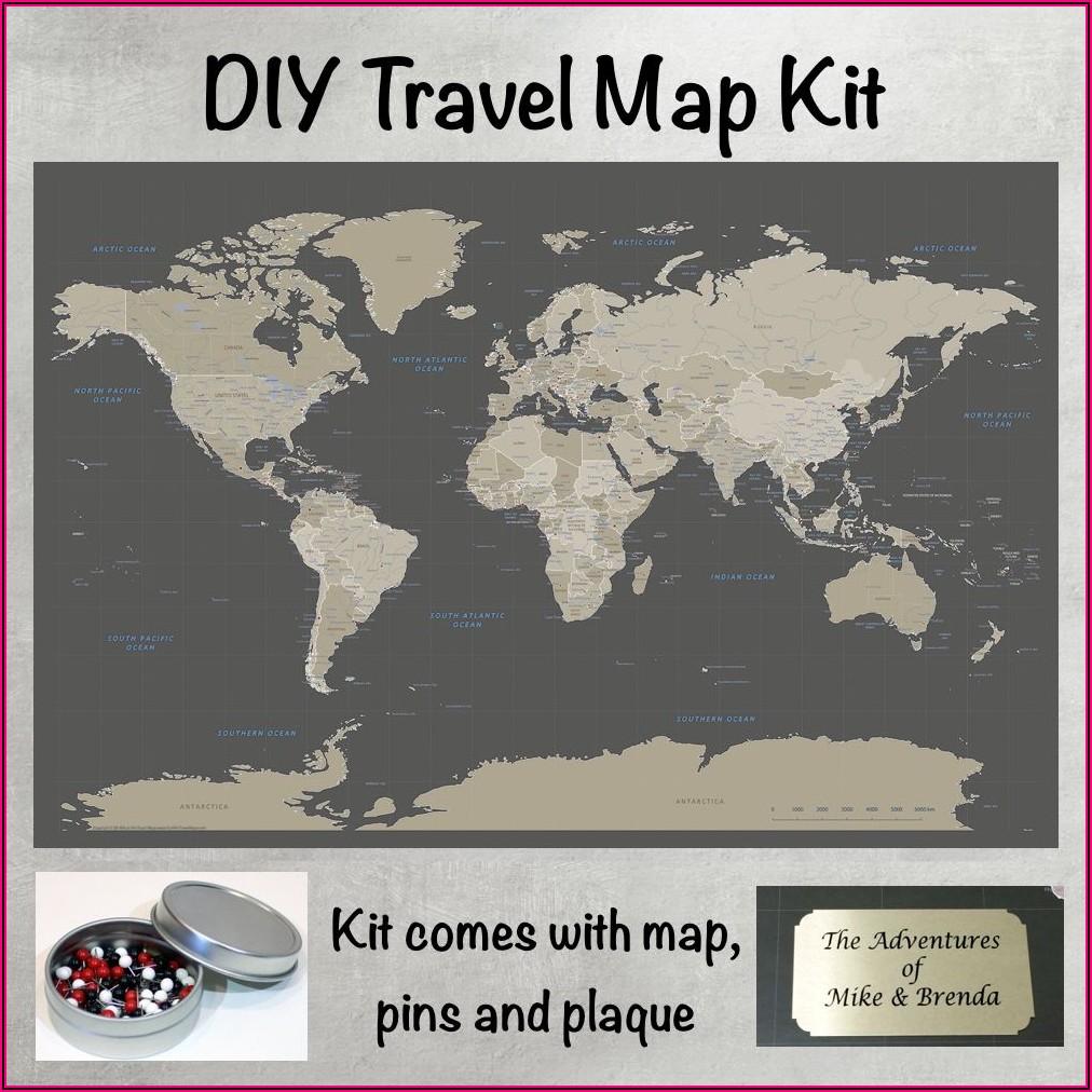 Earth Toned World Push Pin Travel Map