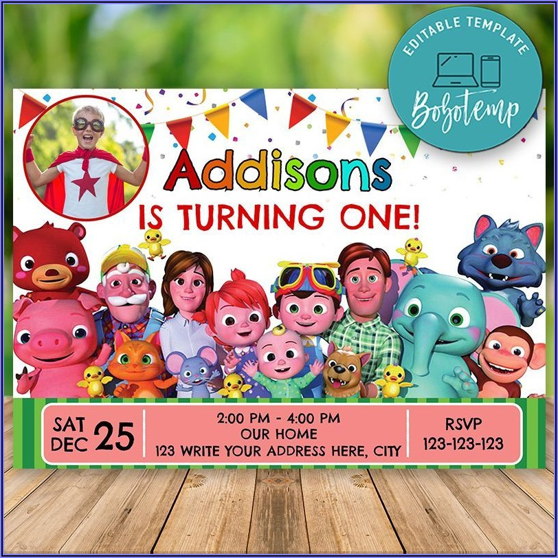 Editable Birthday Invitations Templates (free) Cocomelon