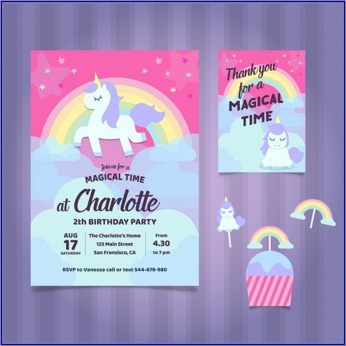 Editable Birthday Invitations Templates Free Unicorn