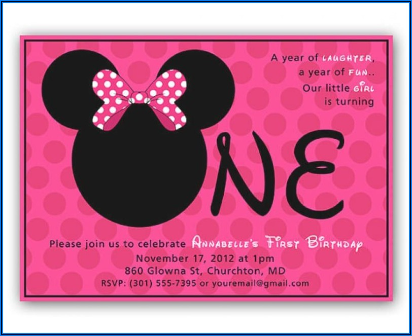 Editable Minnie Mouse 1st Birthday Invitations