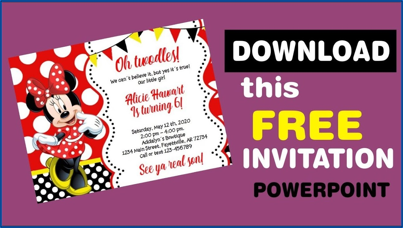 Editable Minnie Mouse Birthday Invitations Free