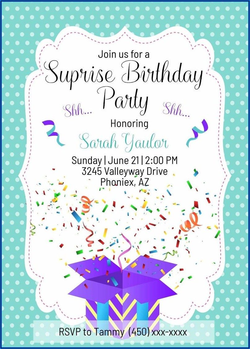 Editable Surprise Birthday Invitations Templates Free