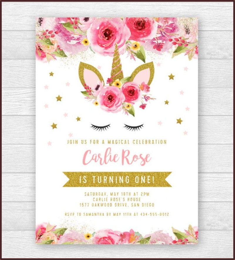 Editable Unicorn Invitation Template Free
