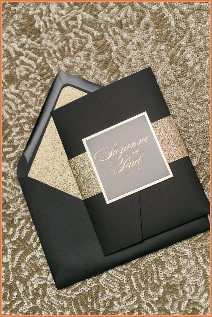 Elegant Black And Gold Wedding Invitations