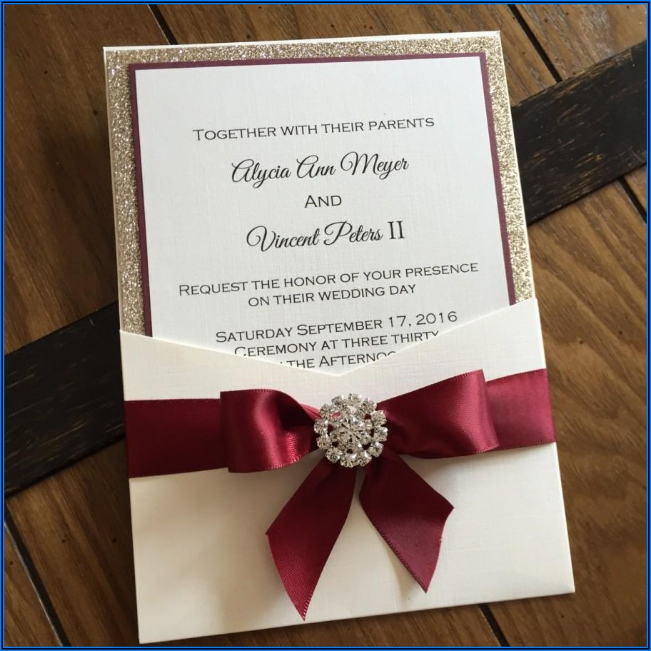 Elegant Burgundy Wedding Invitations