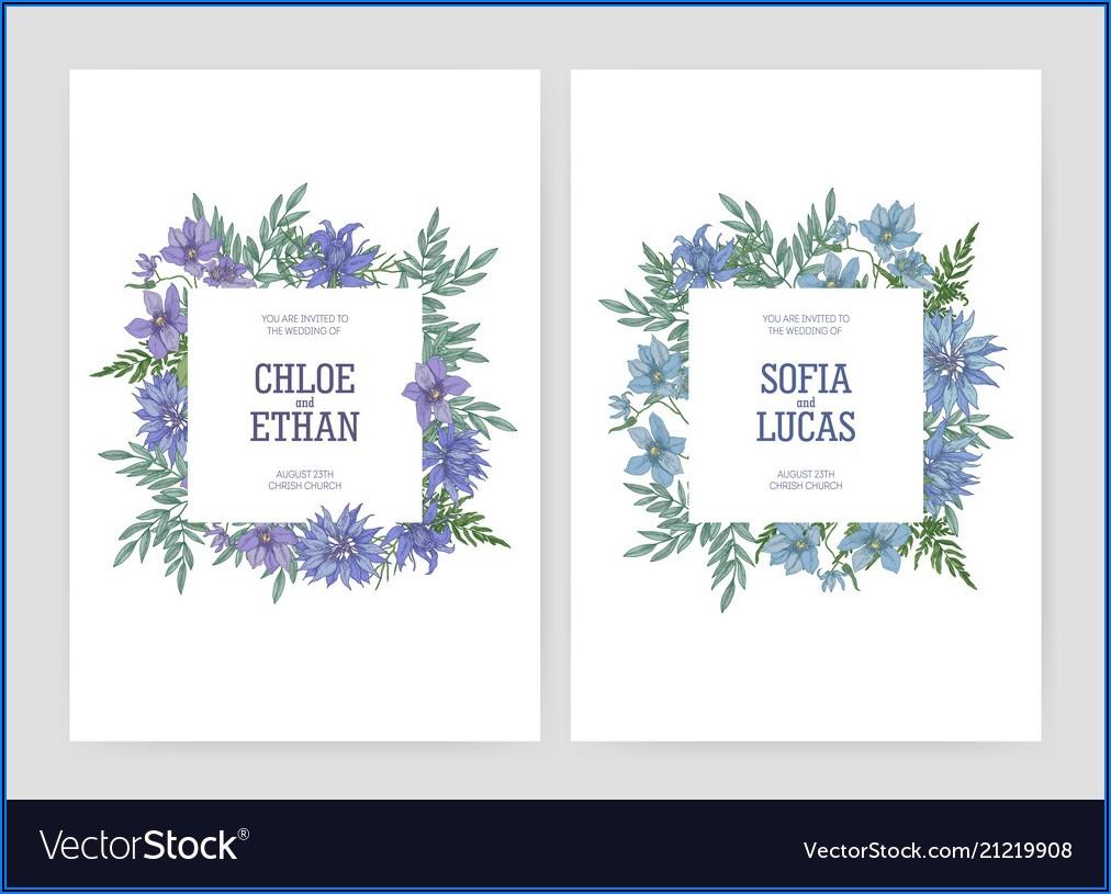 Elegant Floral Wedding Invitations Vector