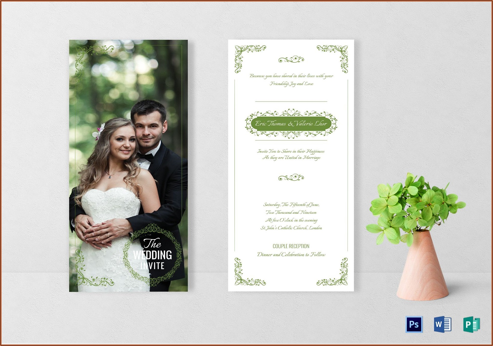 Elegant Wedding Invitation Card Template Psd