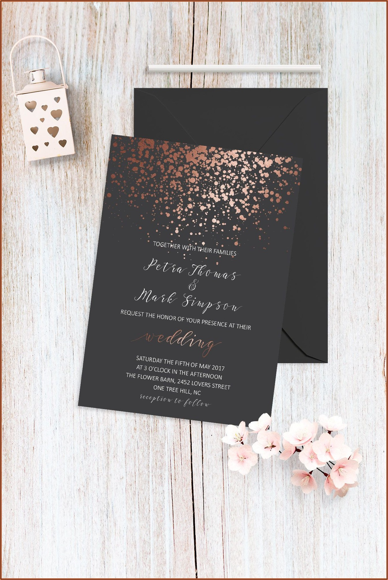 Elegant Wedding Invitations Rose Gold