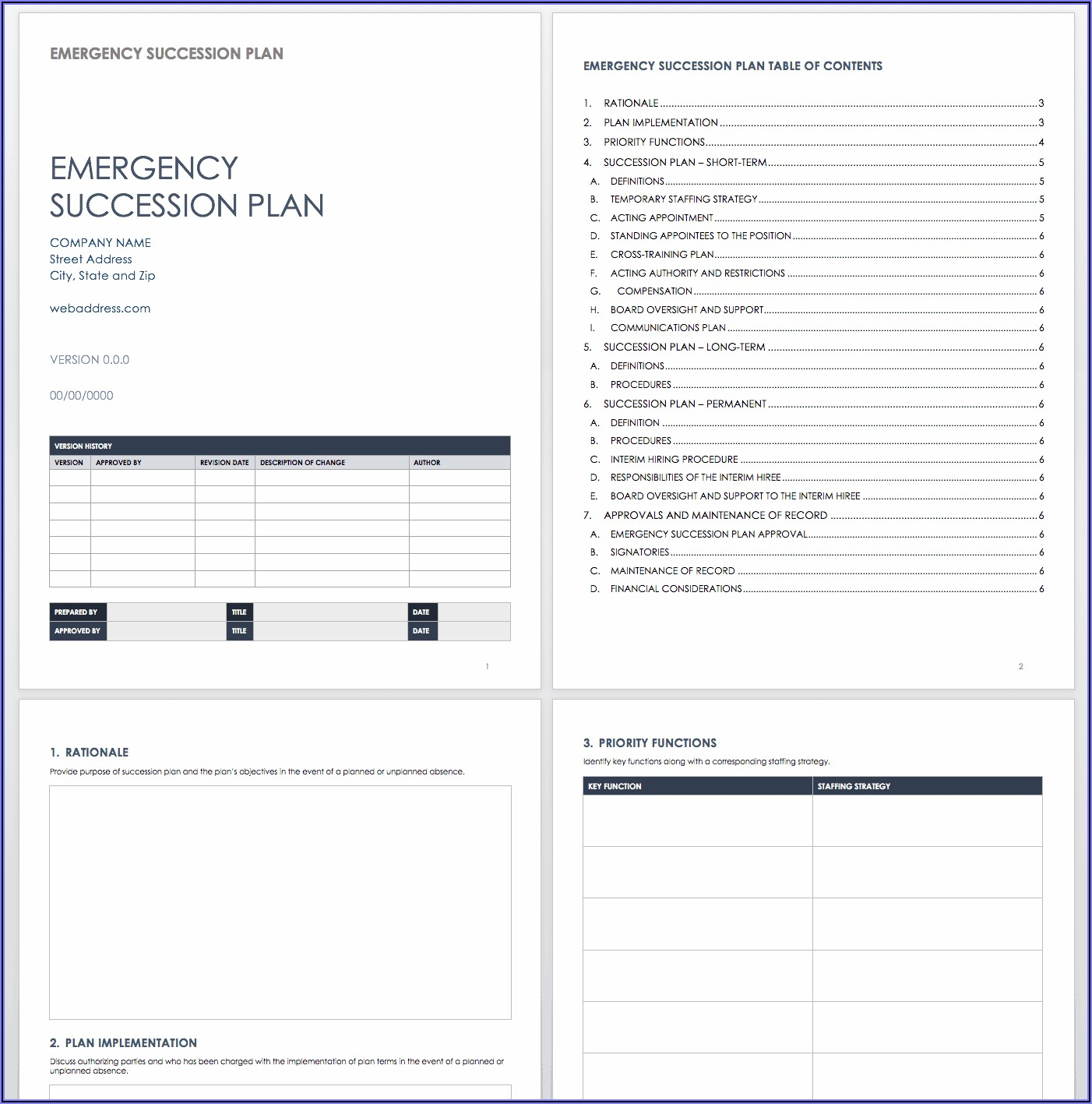 Emergency Ceo Succession Plan Template