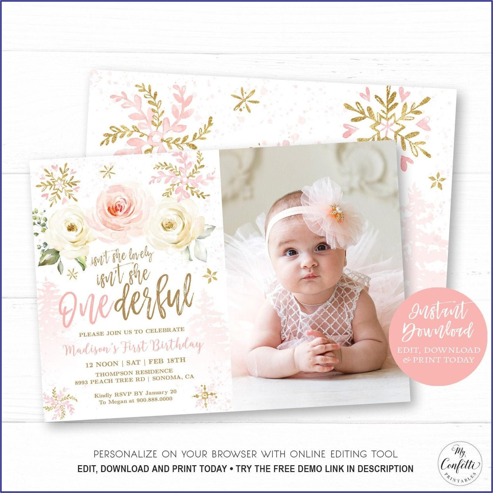 Etsy Girl First Birthday Invitations