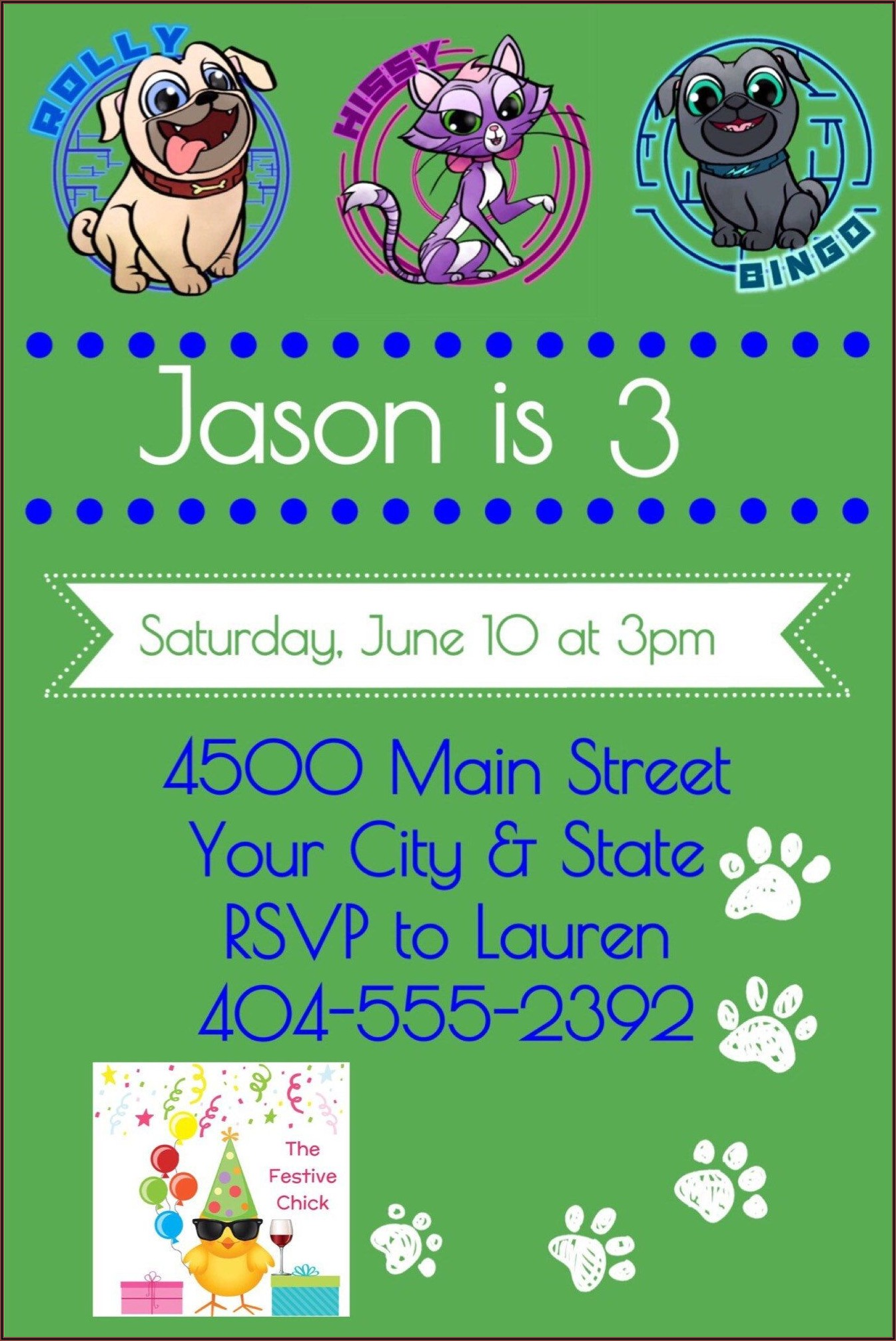 Etsy Puppy Dog Pals Invitations