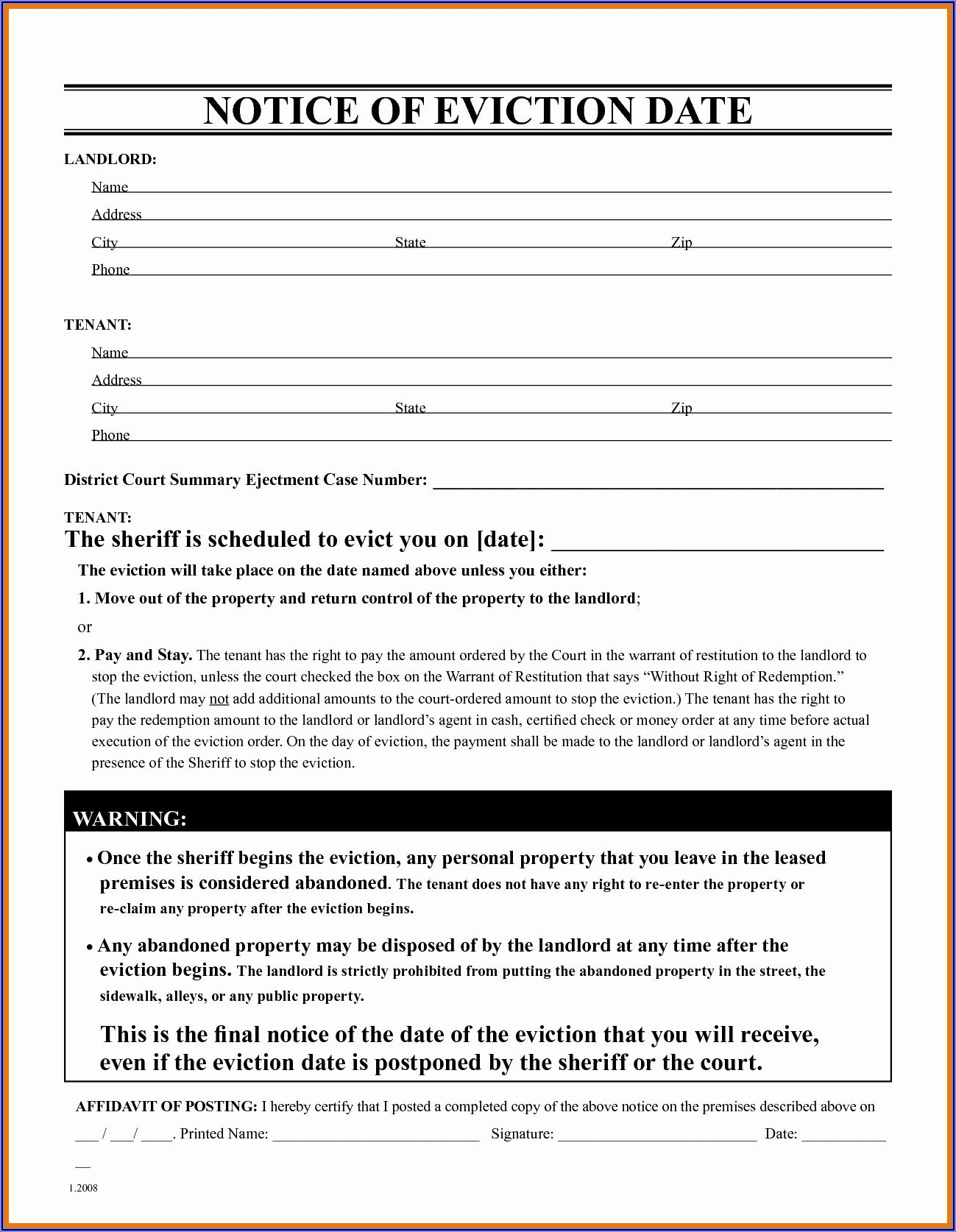 Eviction Notice Sample Free