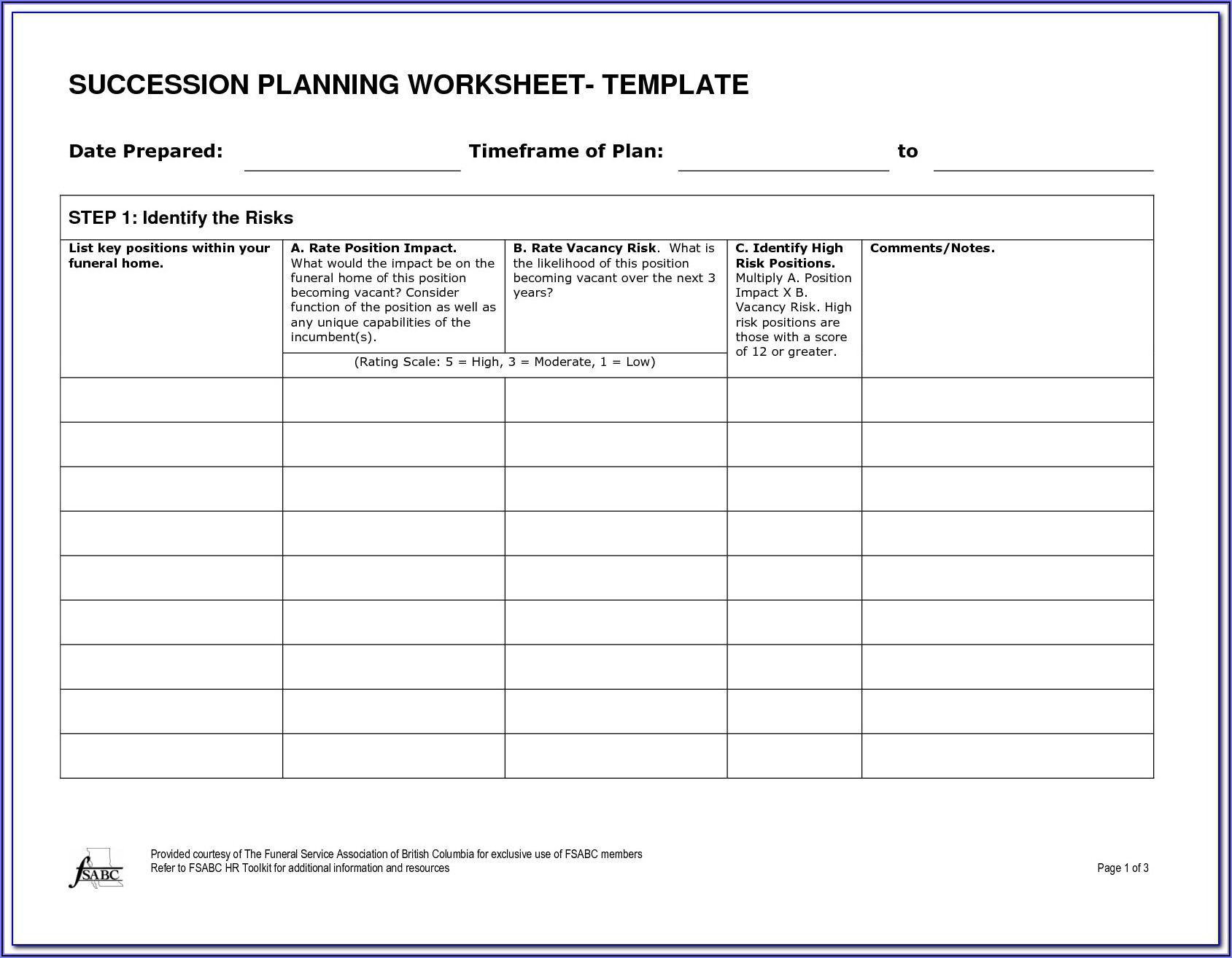 Example Of Succession Planning Template