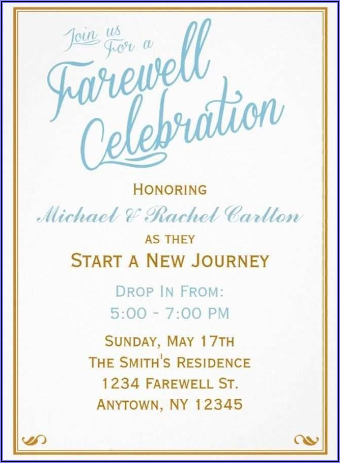 Farewell Invitation Templates For Word