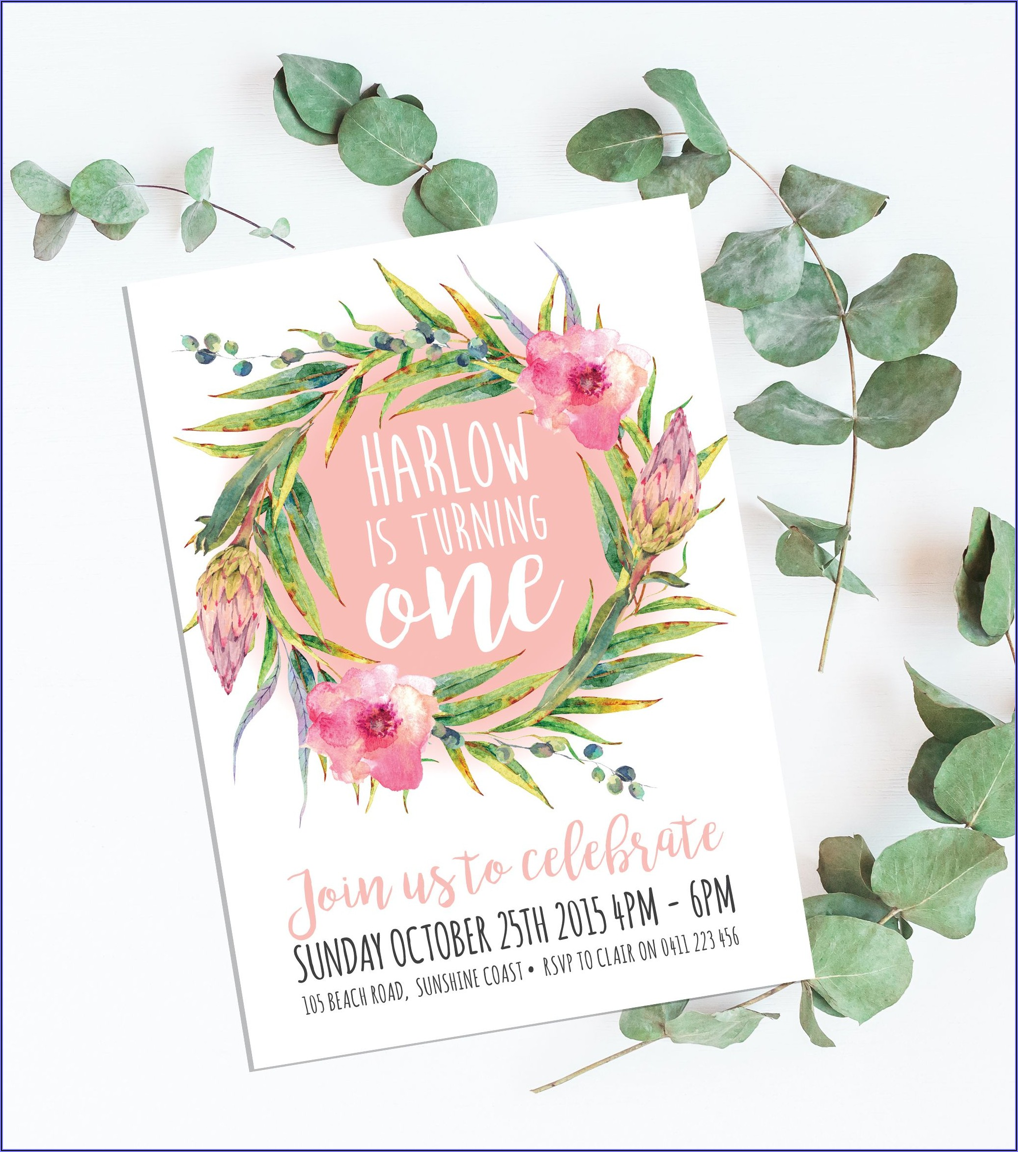 First Birthday Invitations Girl Australia