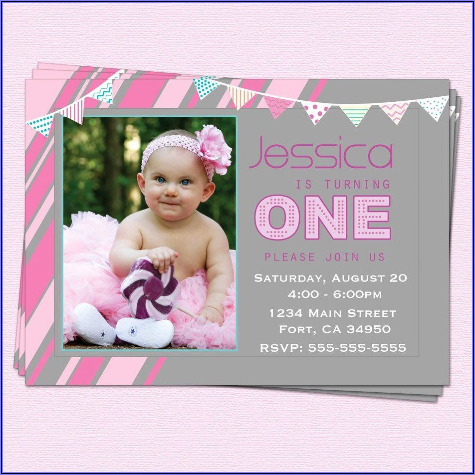 First Birthday Invitations Girl Wording