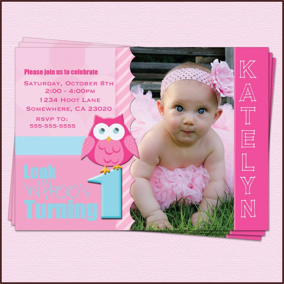 First Birthday Photo Invitations Girl
