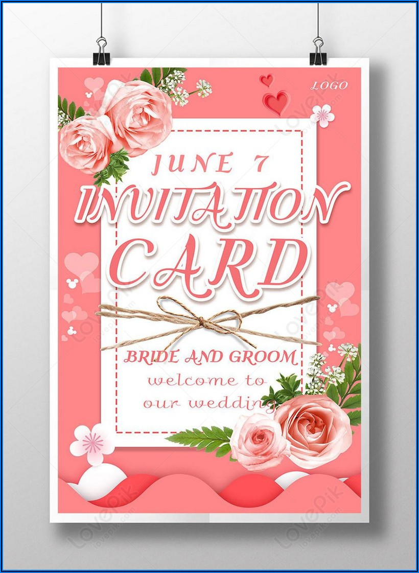 Floral Wedding Invitation Card Template Free Download