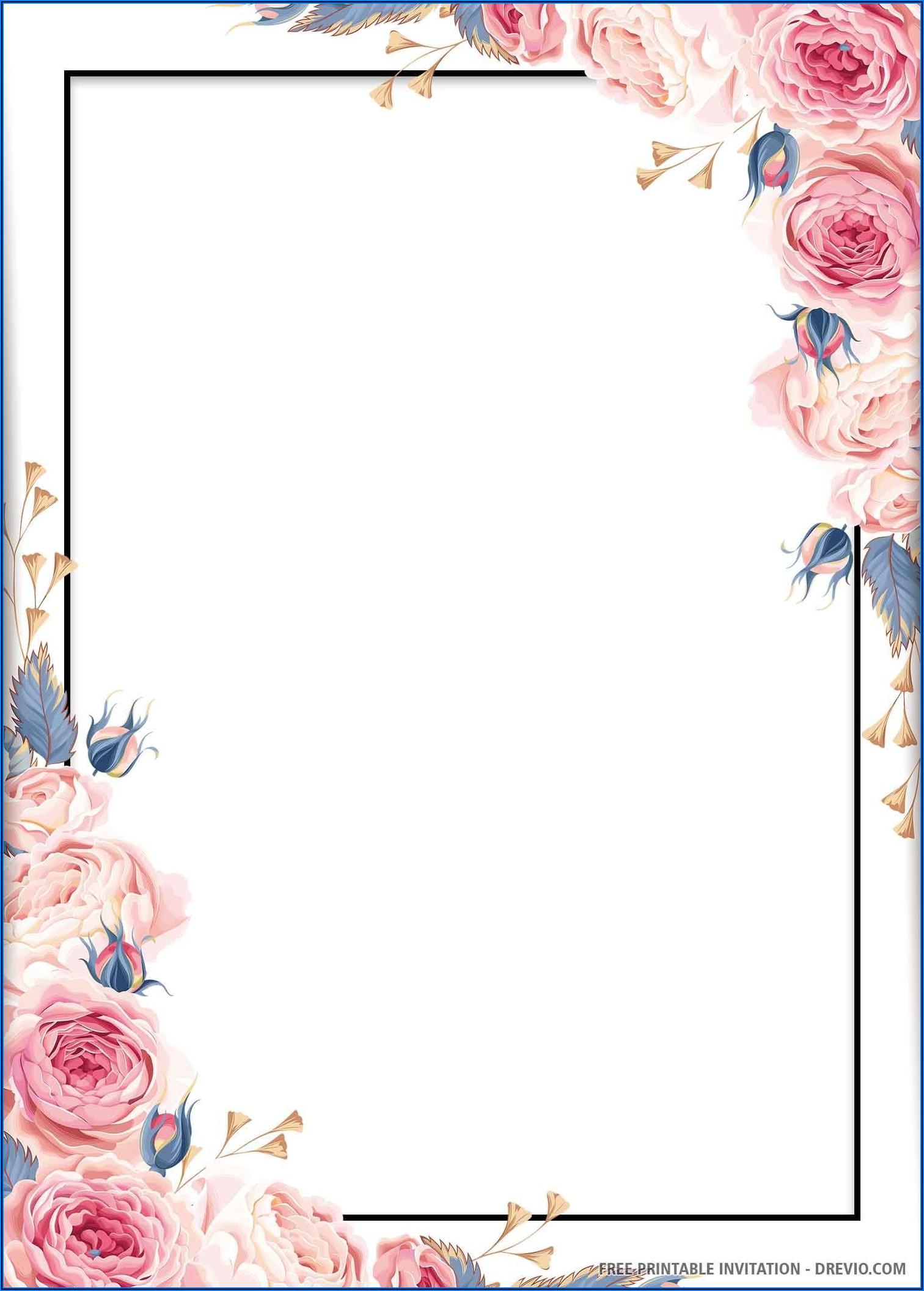 Floral Wedding Invitation Template Free