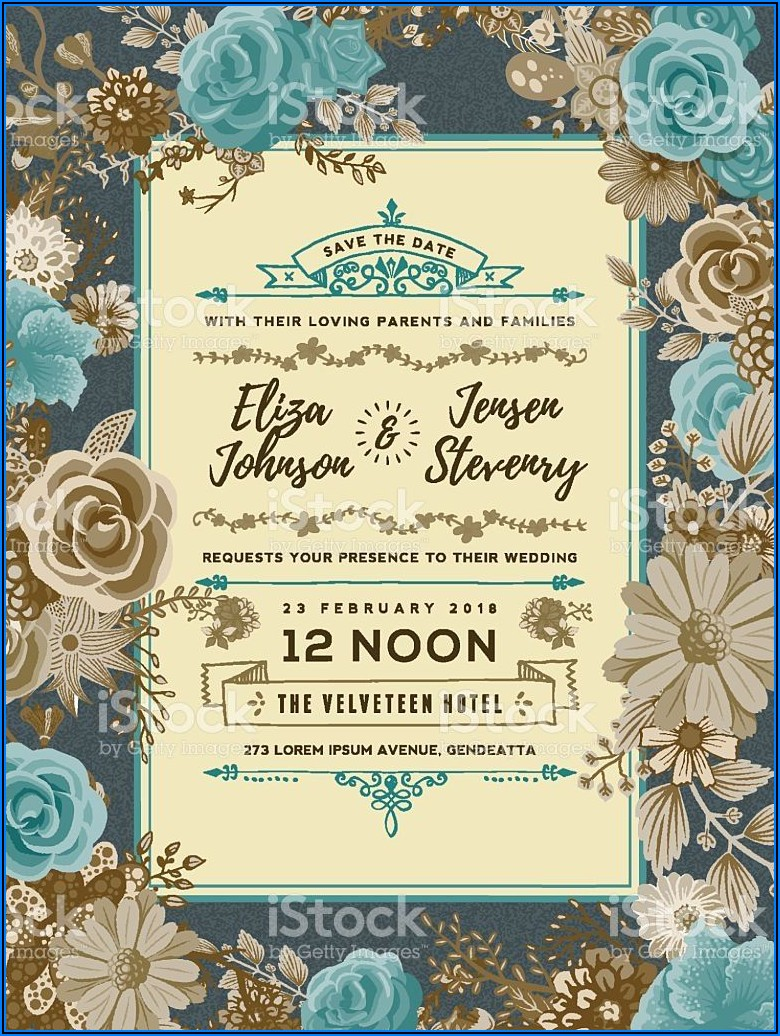 Floral Wedding Invitation Templates Vector Free
