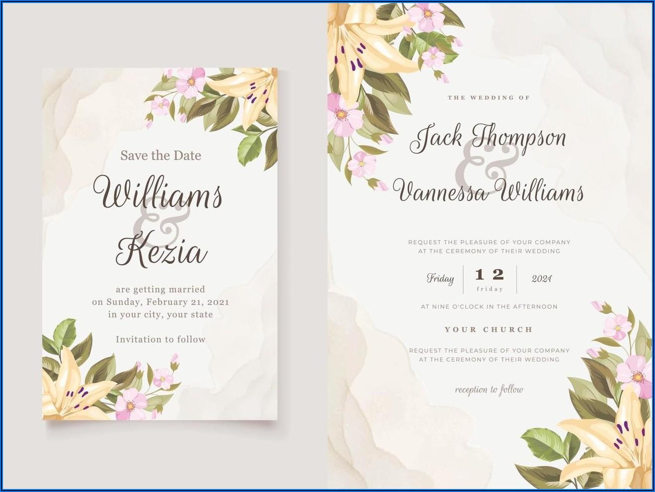 Floral Wedding Invitation Vector Free Download