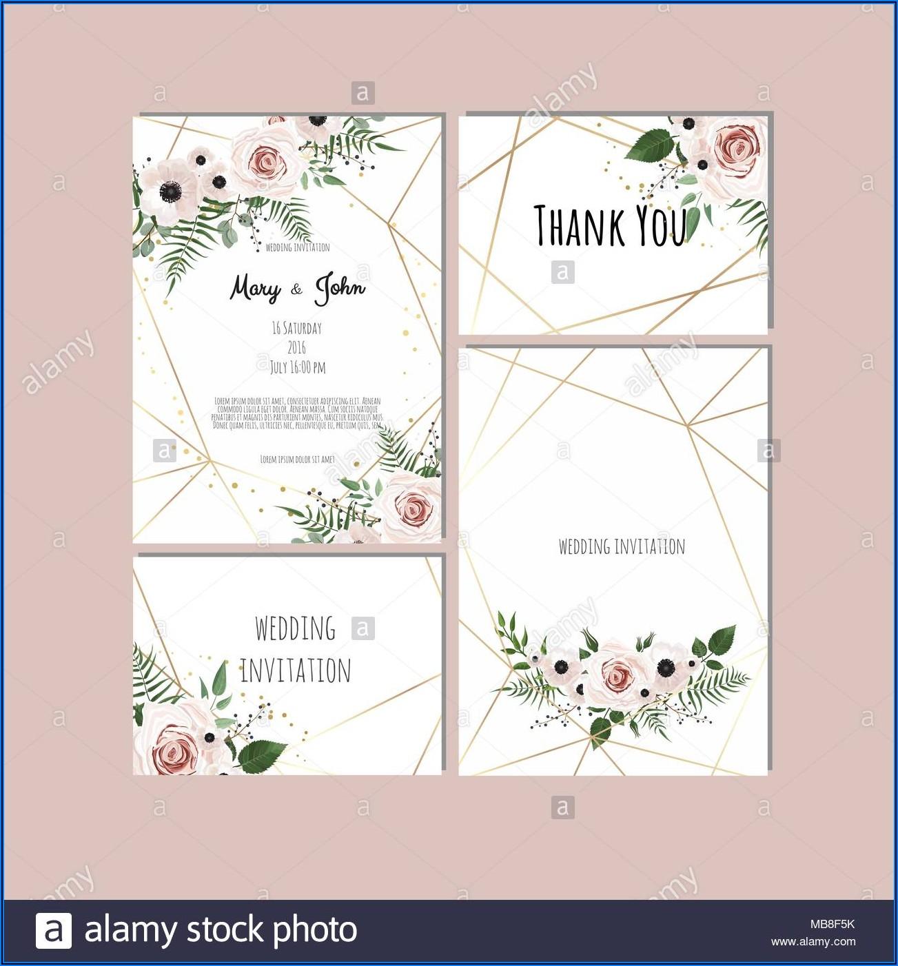 Floral Wedding Invitations Vector