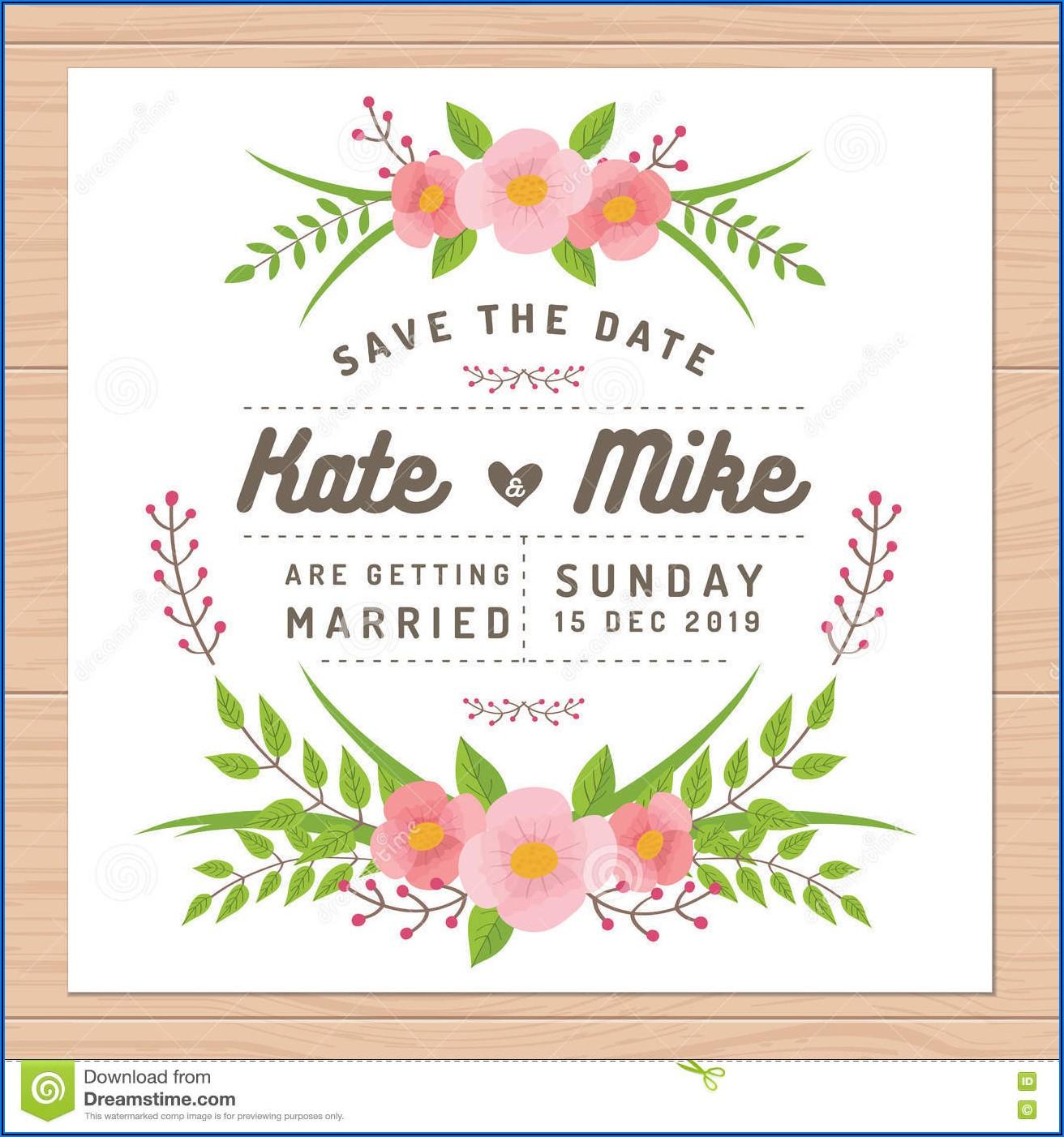 Flower Wedding Invitation Vector Free Download