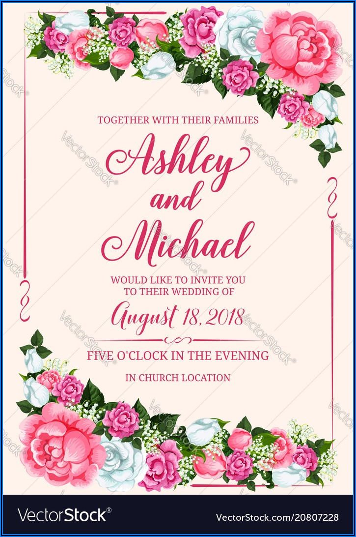 Flower Wedding Invitation Vector