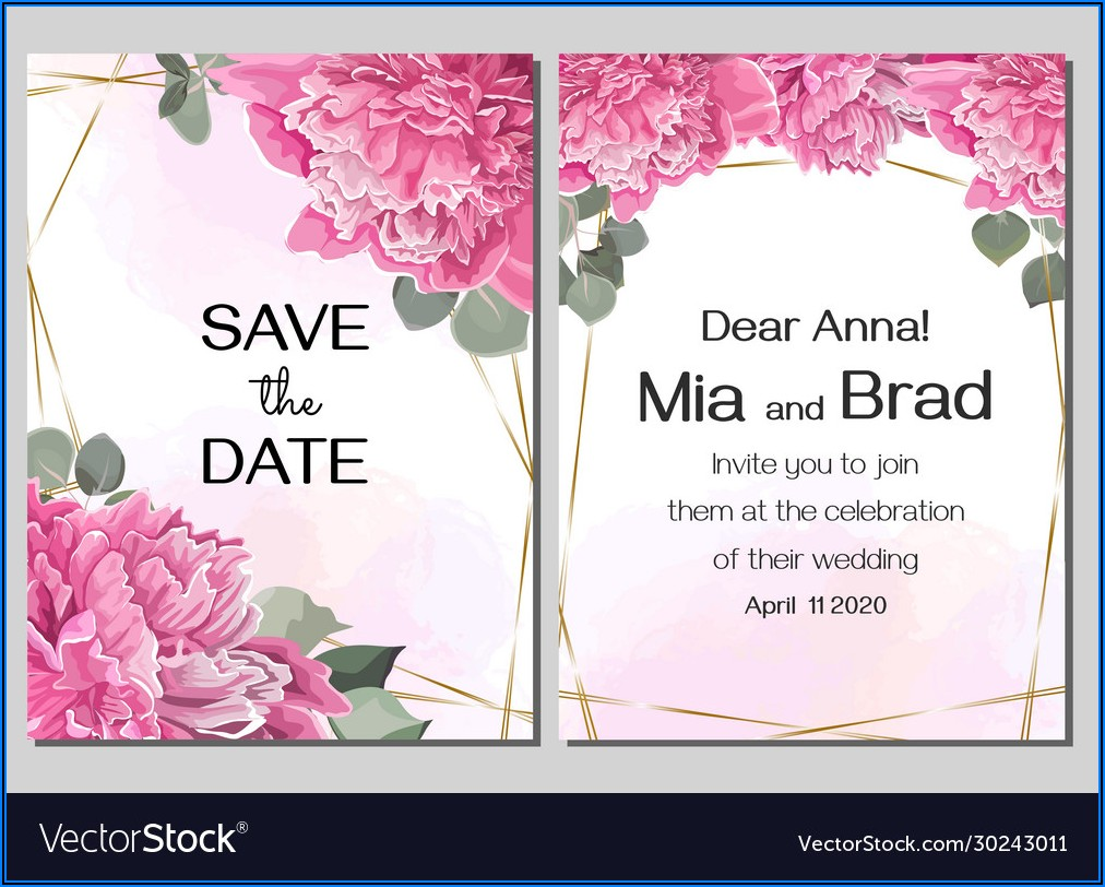 Flowers For Wedding Invitation Vector