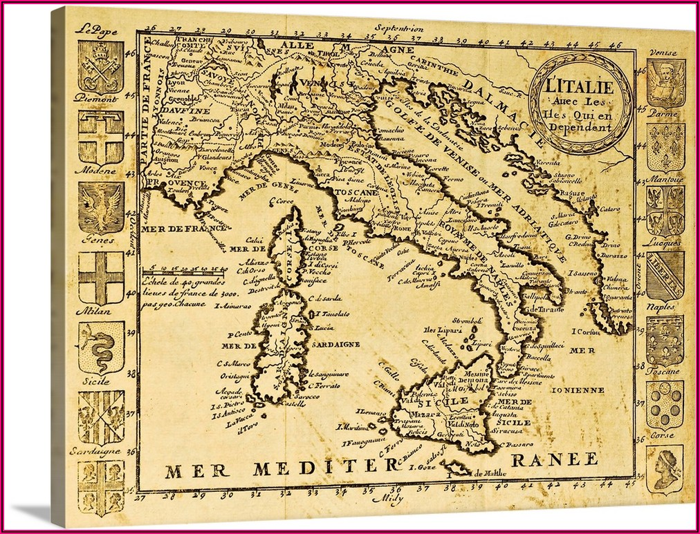 Framed Antique Map Of Italy