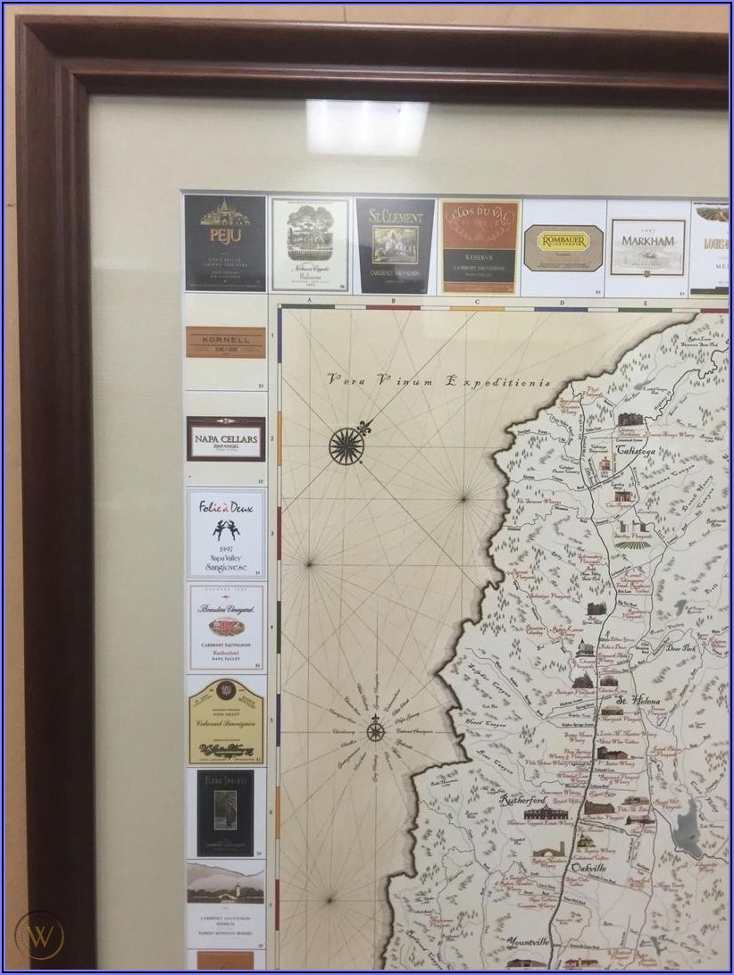 Framed Map Of Napa Valley Wineries