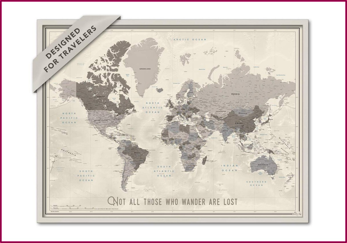 Framed Push Pin World Travel Map