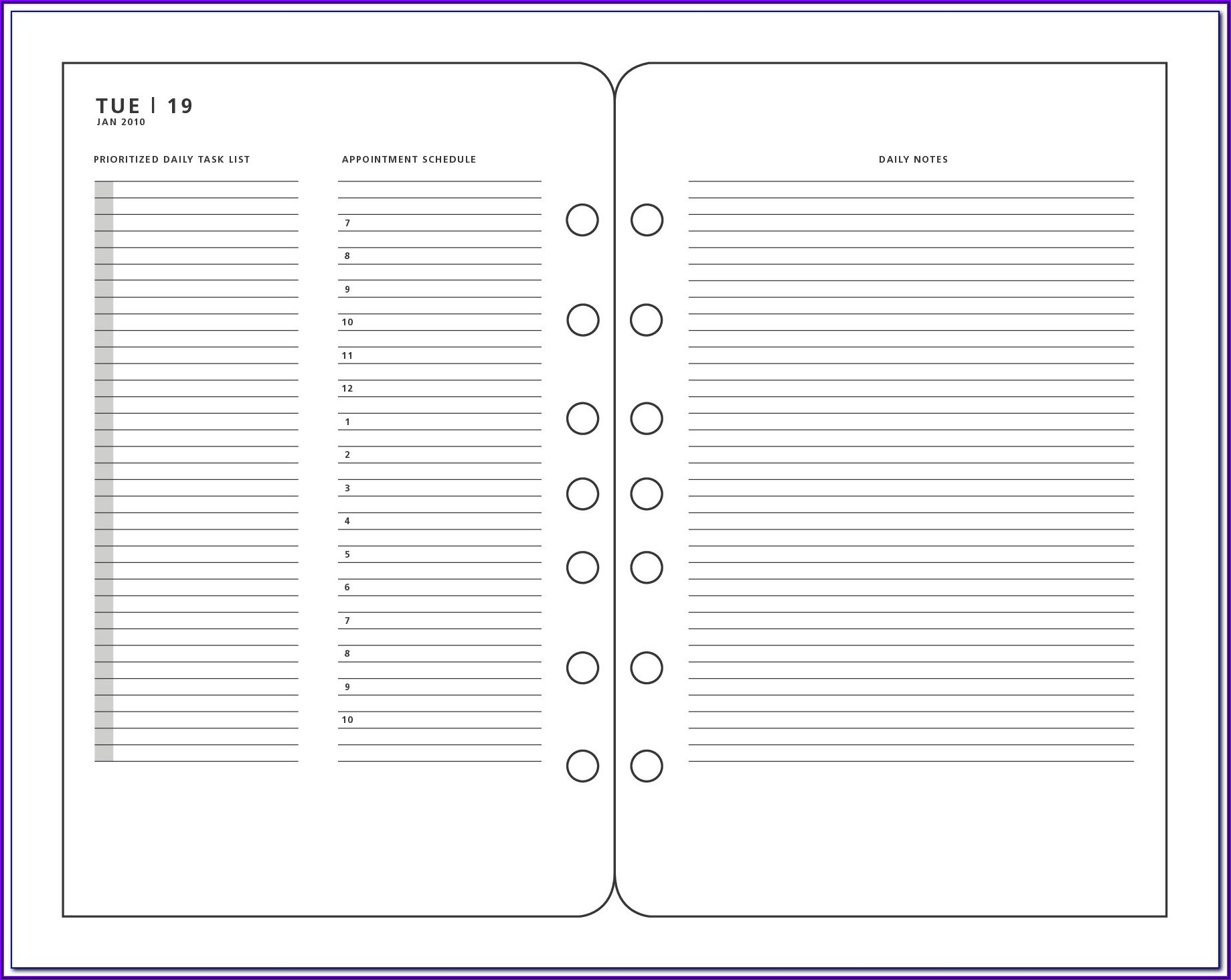 Franklin Planner Printable Templates