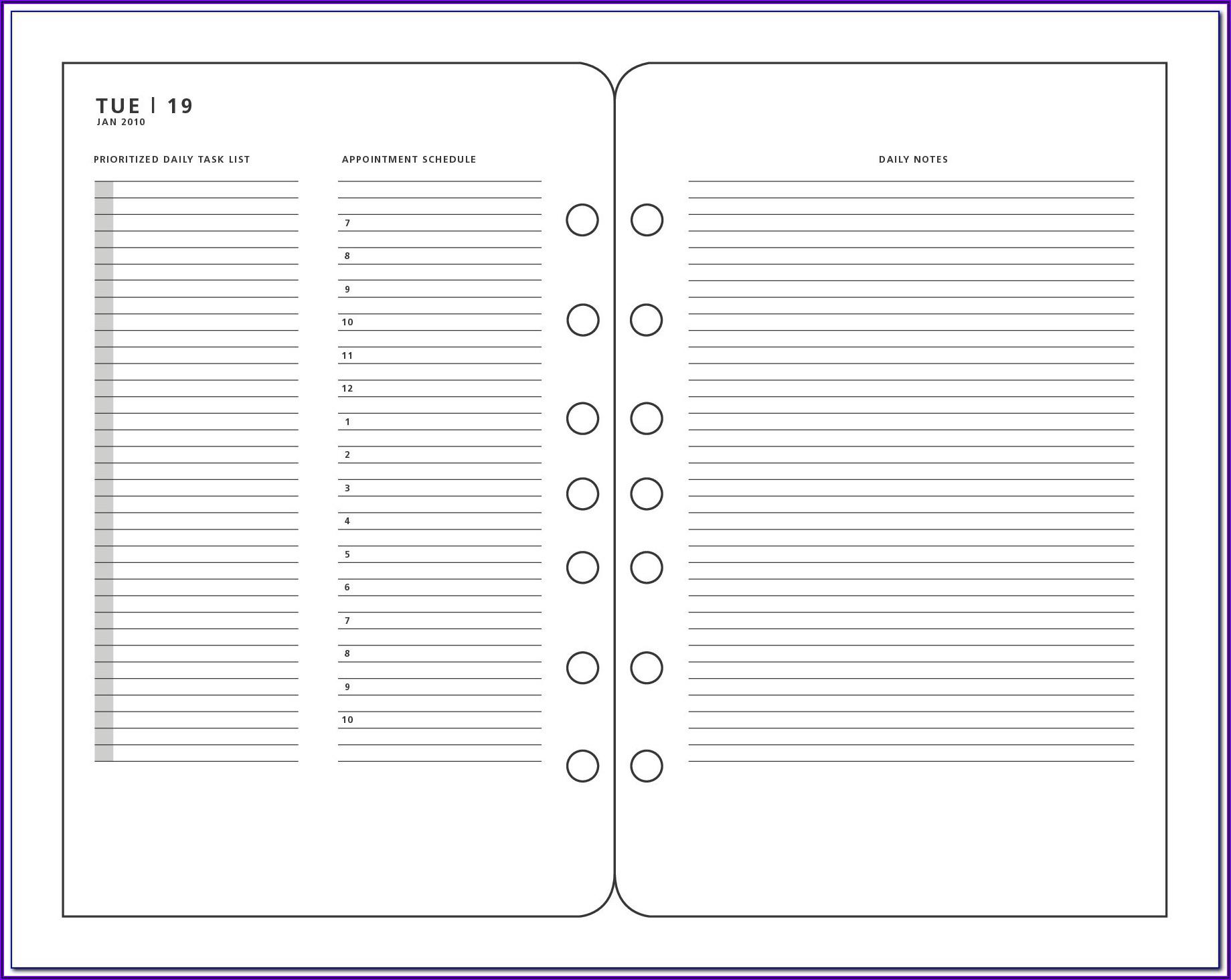 Franklin Planner Printable Templates