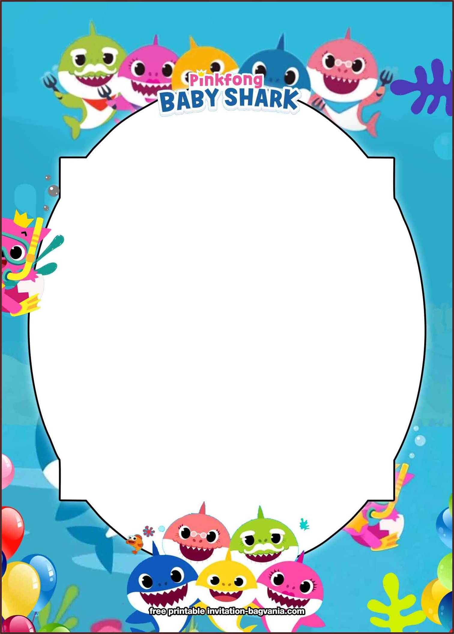 Free Baby Shark Birthday Invitation Card