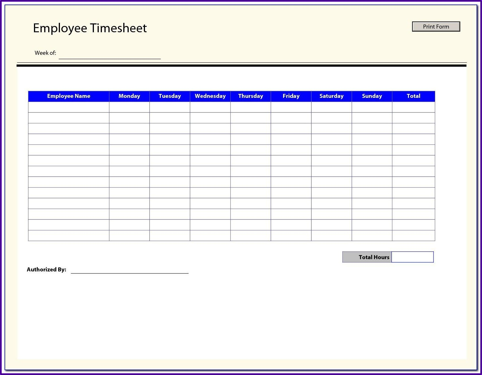 Free Bi Monthly Timesheet Template Excel