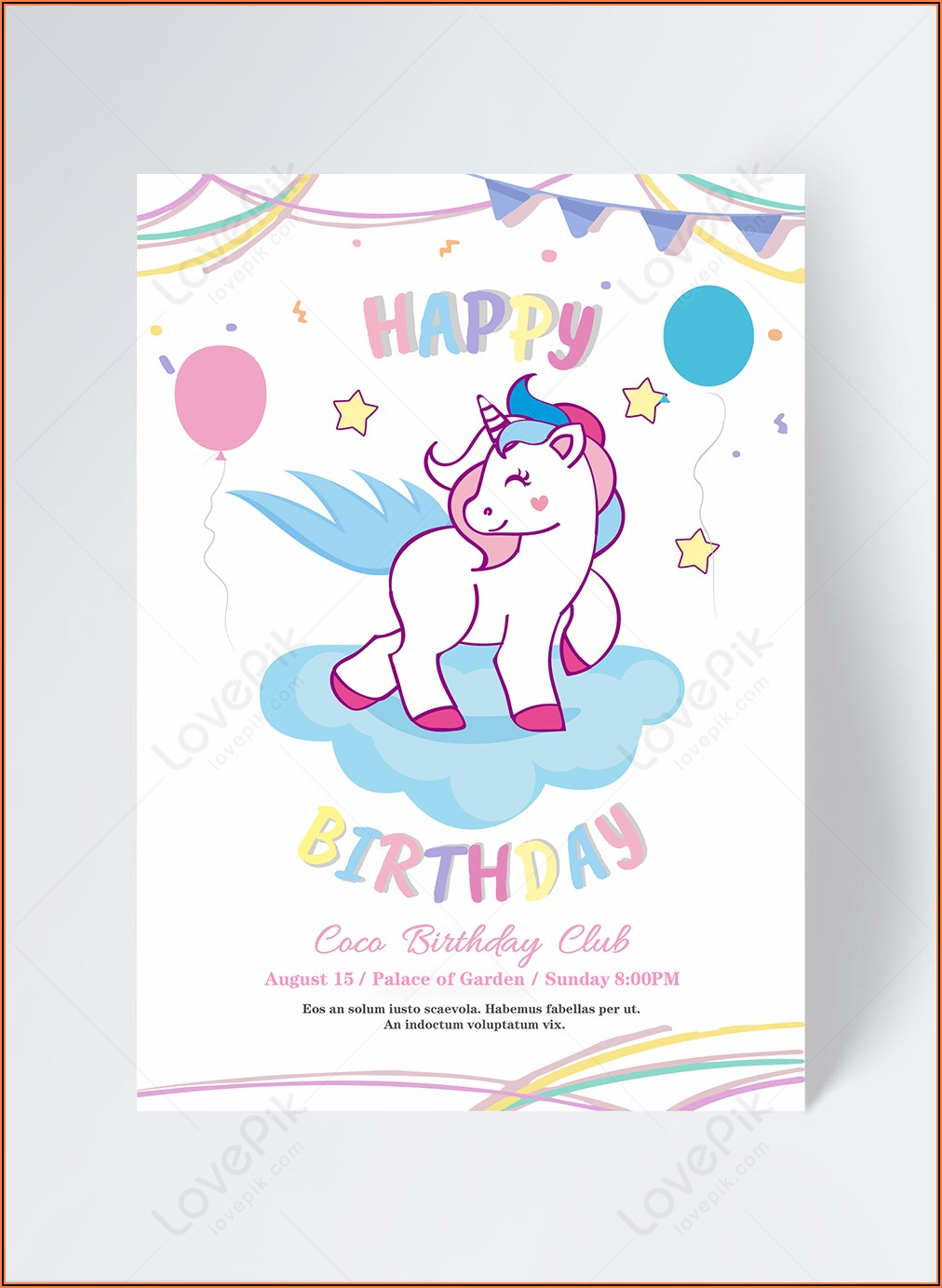 Free Birthday Invitation Template Unicorn