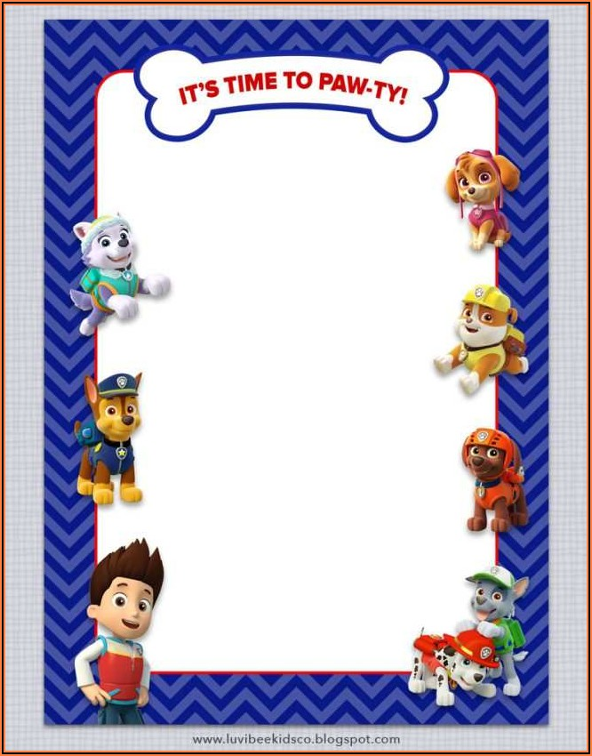 Free Birthday Invitation Templates Paw Patrol
