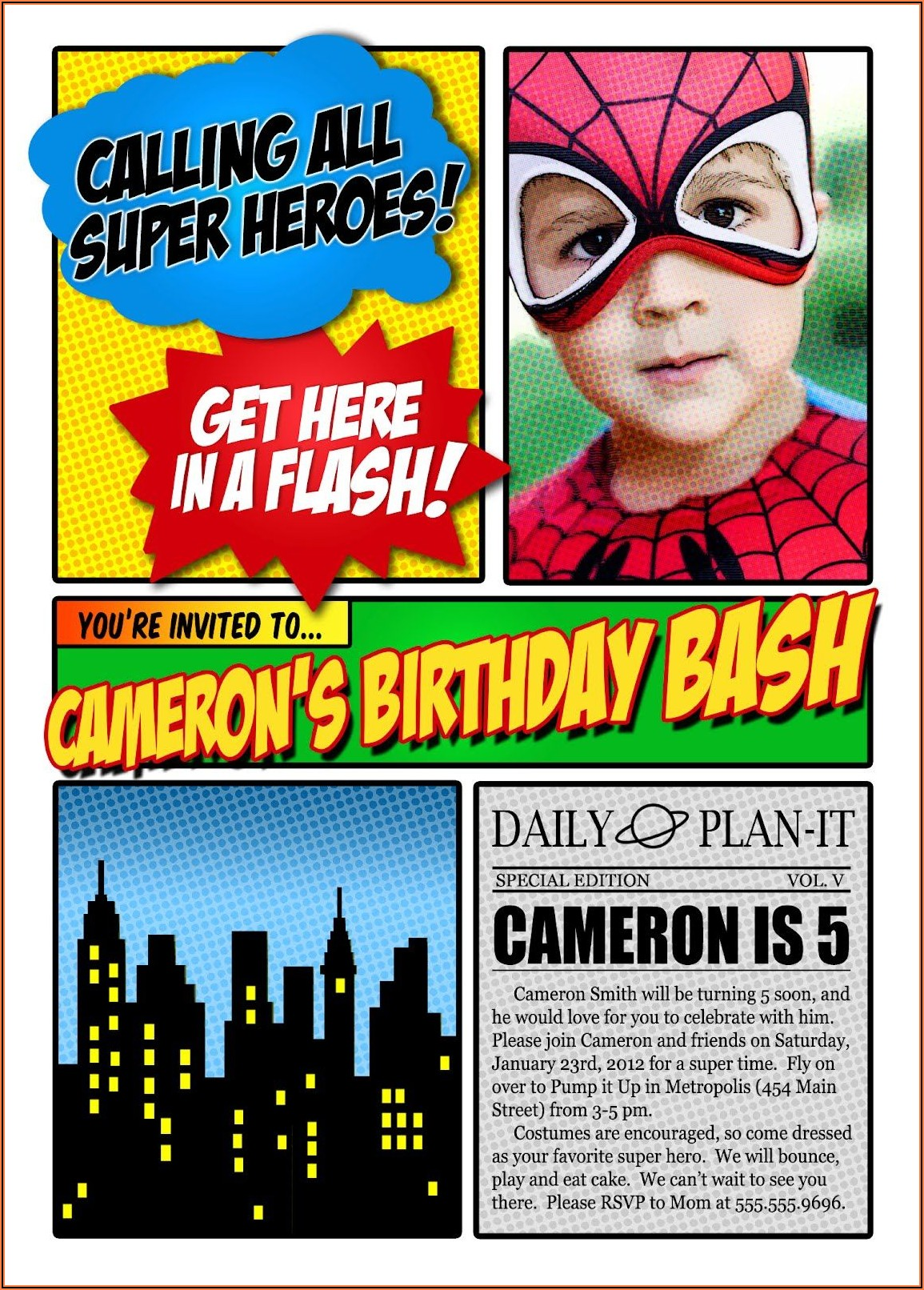 Free Birthday Invitation Templates Superhero