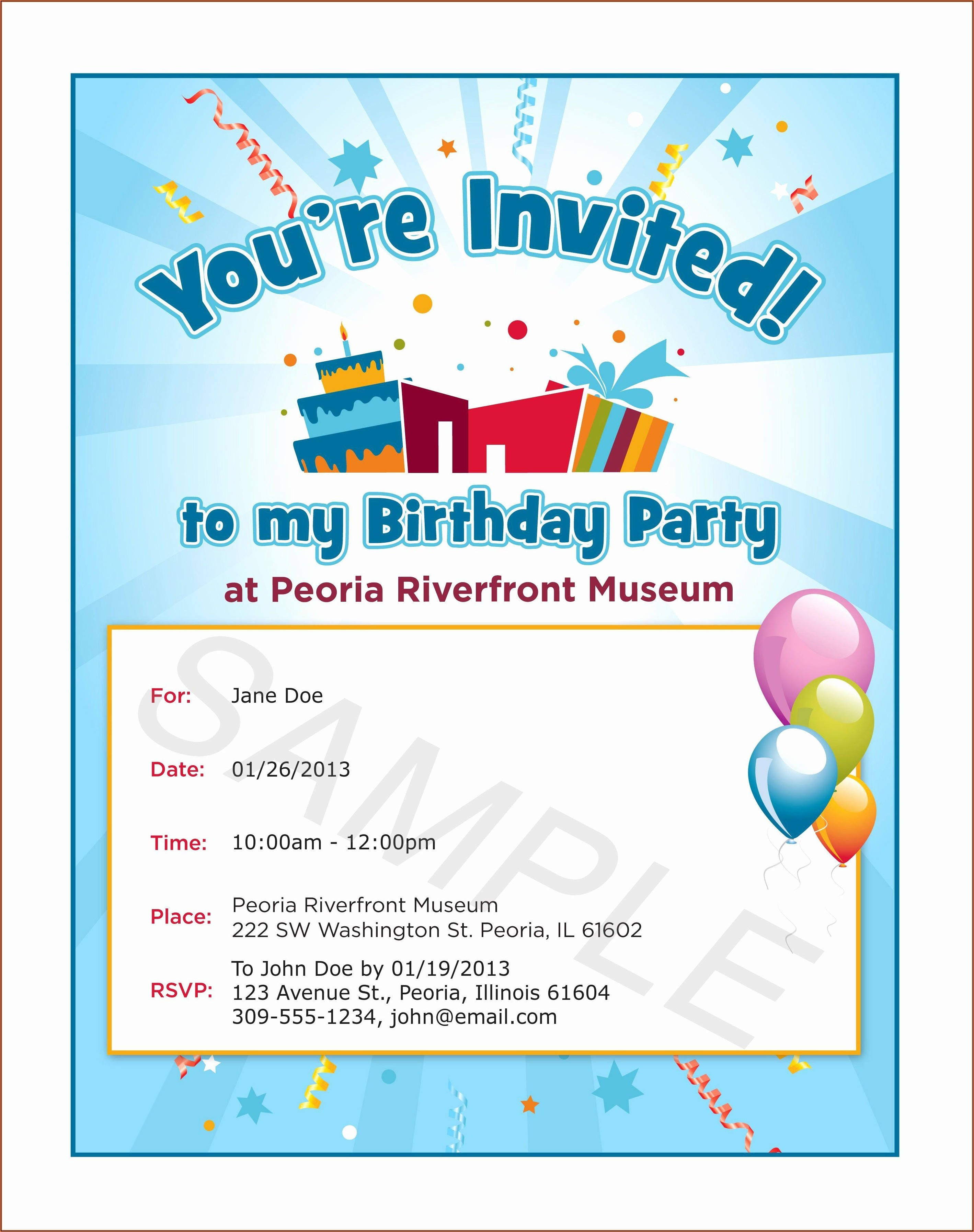 Free Birthday Invitations Online To Email