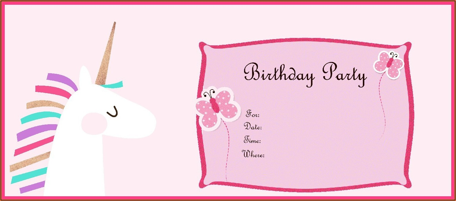 Free Birthday Invitations Unicorn
